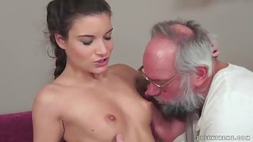 Elderly grandfather pulls the young slut gave herself whiling away for 50 bucks