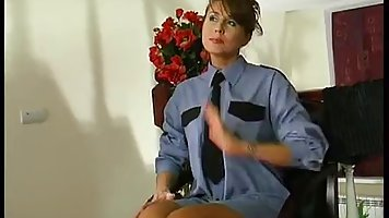 Female in uniform and sexy stockings Fucks with touch