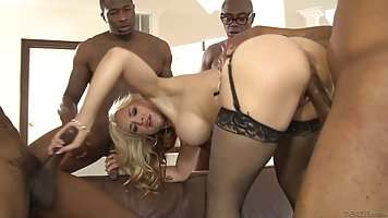 Four black hose covered in cum babe and hard fuck