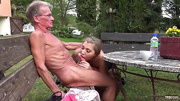 Uncle at the age pokes his limp dick on the mouth of the young fairies